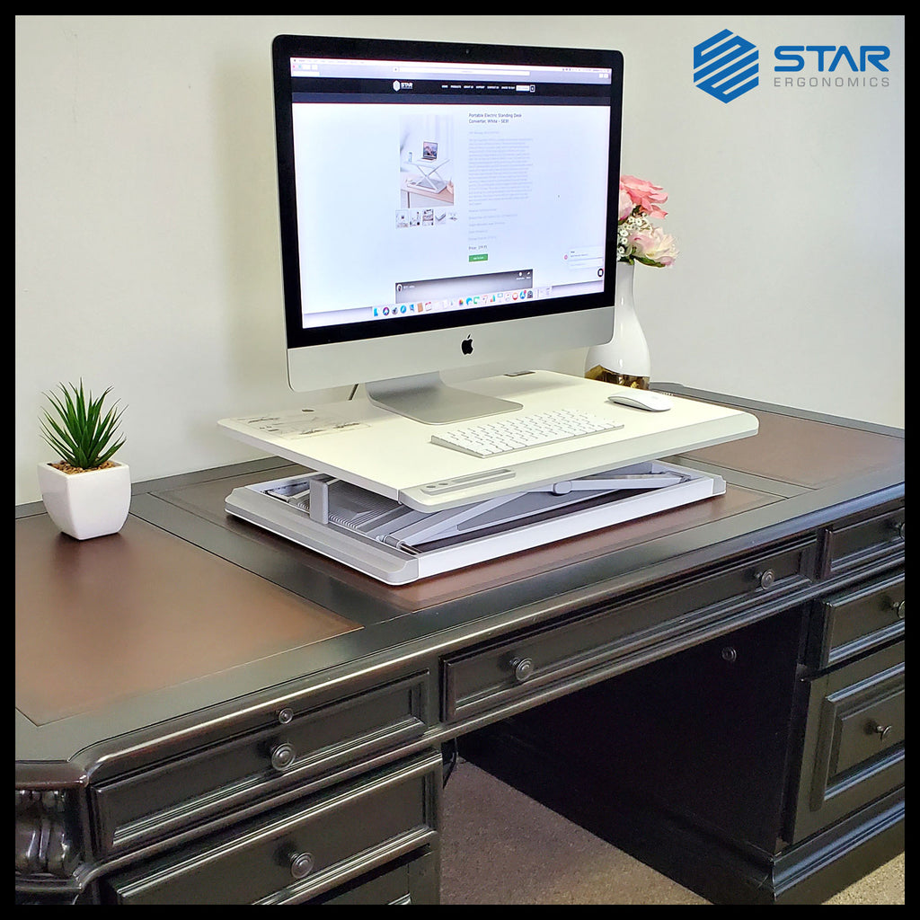Star Ergonomics, Portable Electric Standing Desk Converter, SE91, White, Scratch and Fire Resistant Tabletop
