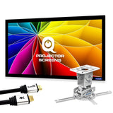 "QualGear projector ceiling mount bundle with 110"" high contrast gray fixed frame projector screen & 25' HDMI Cable (PRB-717–WHT-110G-25FT)"