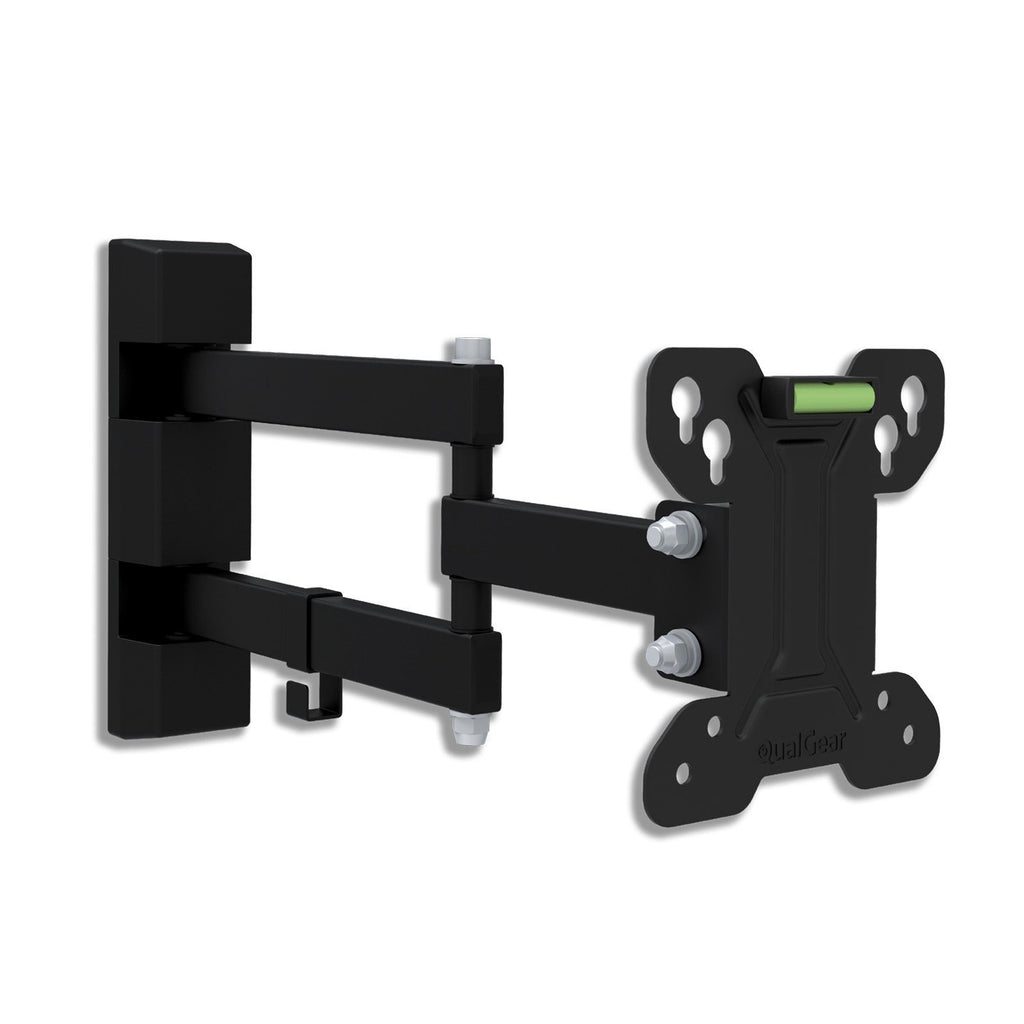 "QG-TM-007-BLK Universal Low Profile Full Motion Wall Mount for most 13"" to 27"" LED TVs, Black"
