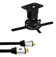 QualGear PRB-717-BLK-25FT Projector Ceiling Mount Bundle with HDMI Type A Male to Type A Male Cable, 25' Black
