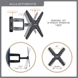 QualGear QG-TM-A-012 Universal Ultra Slim Low Profile Articulating Wall Mount for 23-55 Inches LED TV, Black