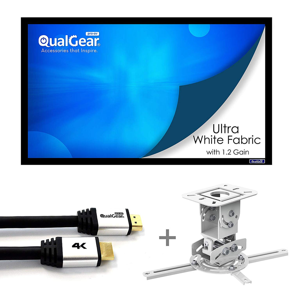 "QualGear Projector Ceiling Mount Bundle with 110"" Ultra White Fixed Frame Projector Screen & 50' HDMI Cable Hardware Mount PRB-717-WHT-110W-50FT (PRB-717–WHT-110W-50FT)"