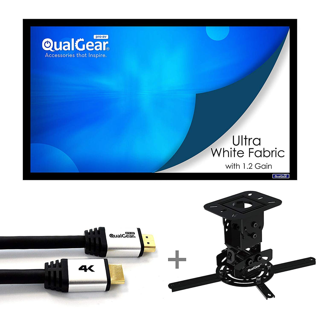 "QualGear Projector Ceiling Mount Bundle with 110"" Frame Projector Screen Main Image"