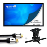 "QualGear Projector Ceiling Mount Bundle with 110"" Ultra White Fixed Frame Projector Screen & 50' HDMI Cable Hardware Mount PRB-717-BLK-110W-50FT (PRB-717–BLK-110W-50FT)"