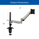 QualGear Articulating Monitor Desk Mount with Spring Arm Dimensions