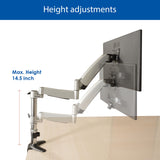 QualGear Articulating Monitor Desk Mount with Spring Arm Height Adjustments
