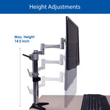 QualGear 3-Way Articulating Single Monitor Desk Mount  Adjustable height info.