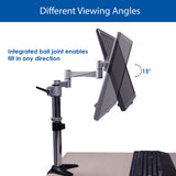 QualGear 3-Way Articulating Single Monitor Desk Mount viewing angles