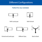 QualGear 3-Way Articulating Dual Monitor Desk Mount Configurations