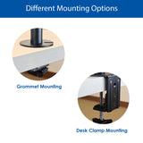 QualGear 3-Way Articulating Dual Monitor Desk Mount options