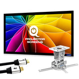 "QualGear PRB-717-WHT-120W-25FT projector ceiling mount bundle with 120"" ultra white fixed frame projector screen & 25′ HDMI Cable Hardware Mount (PRB-717-WHT-120W-25FT)"