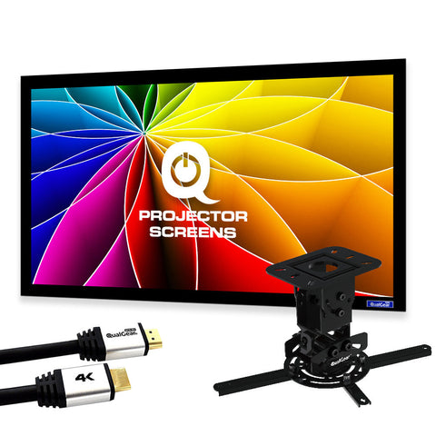 "QualGear PRB-717-BLK-120W-25FT projector ceiling mount bundle with 120"" ultra white fixed frame projector screen & 25′ HDMI Cable Hardware Mount (PRB-717-BLK-120W-25FT)"