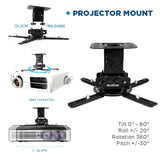 "QualGear Projector Ceiling Mount Bundle with 110"" Fixed Frame Projector Screen Info,"