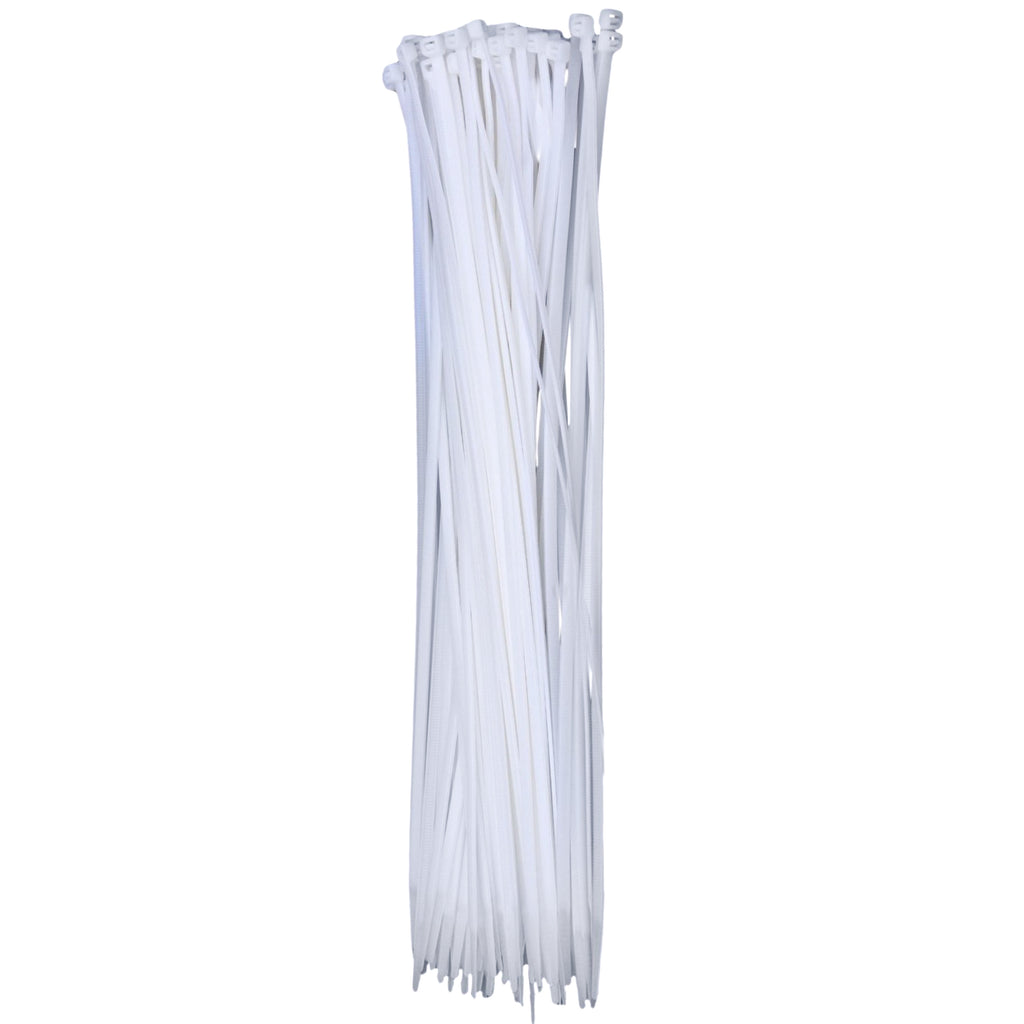 eHotCafe CT6-W-100-P Self-Locking Cable Ties, 14-Inch, White 100/Poly Bag