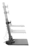 Electric sit stand workstation product image showing range of motion