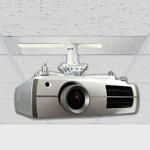 QualGear Pro-AV QG-KIT-S-3IN-W Pro-AV Projector Mounting Kit - Projector Mount, Suspended Ceiling Adapter, and a 3 inch 1.5-Inch NPT Threaded Pipe in White Projector Accessory