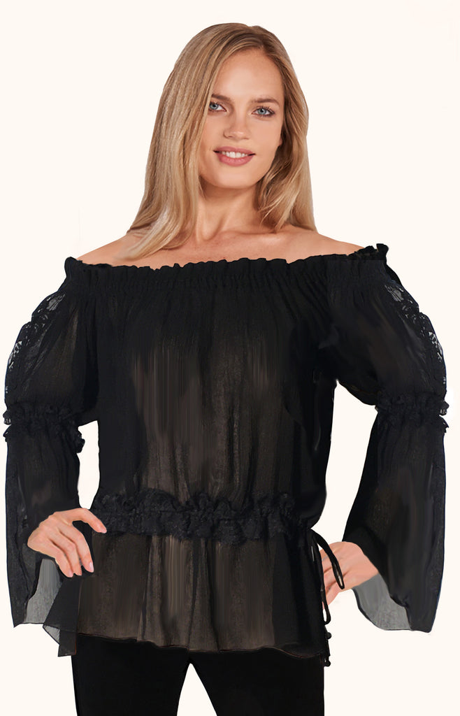 Juliet Top in Sara Plisse' & Lace Trim - Use Sale Code  Home50off at Checkout