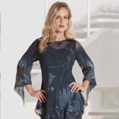 Silk Devore Bias Tunic, Silk Camisole & Silk Charmeuse Tulip Skirt - Sara Mique Evening Wear