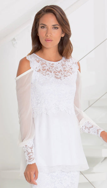 Silk Plisse' Cold Shoulder Top French Lace Trim - B609