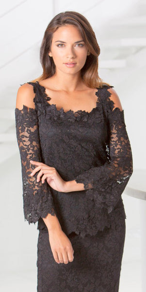 French Lace Cold Shoulder Blouse - B611  (Lace Pant Style P605 Sold Separately)