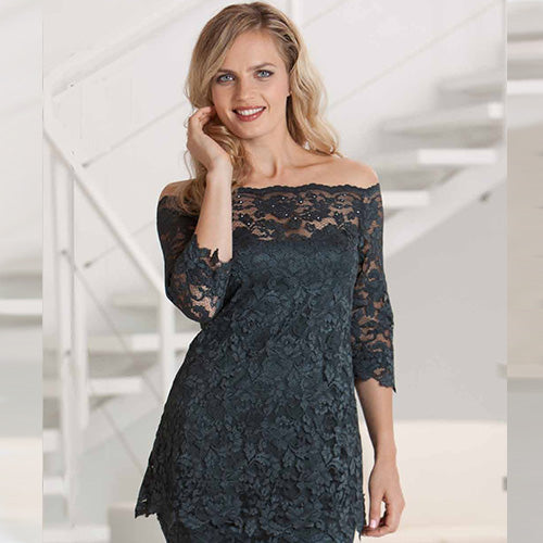 French Rose Lace Top - Use Code home50off at Check Out - Sara Mique Evening Wear