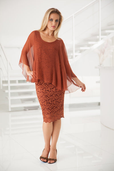 "Sara's Silk Plisse"" Overlay Top And Lace Skirt - Sale"