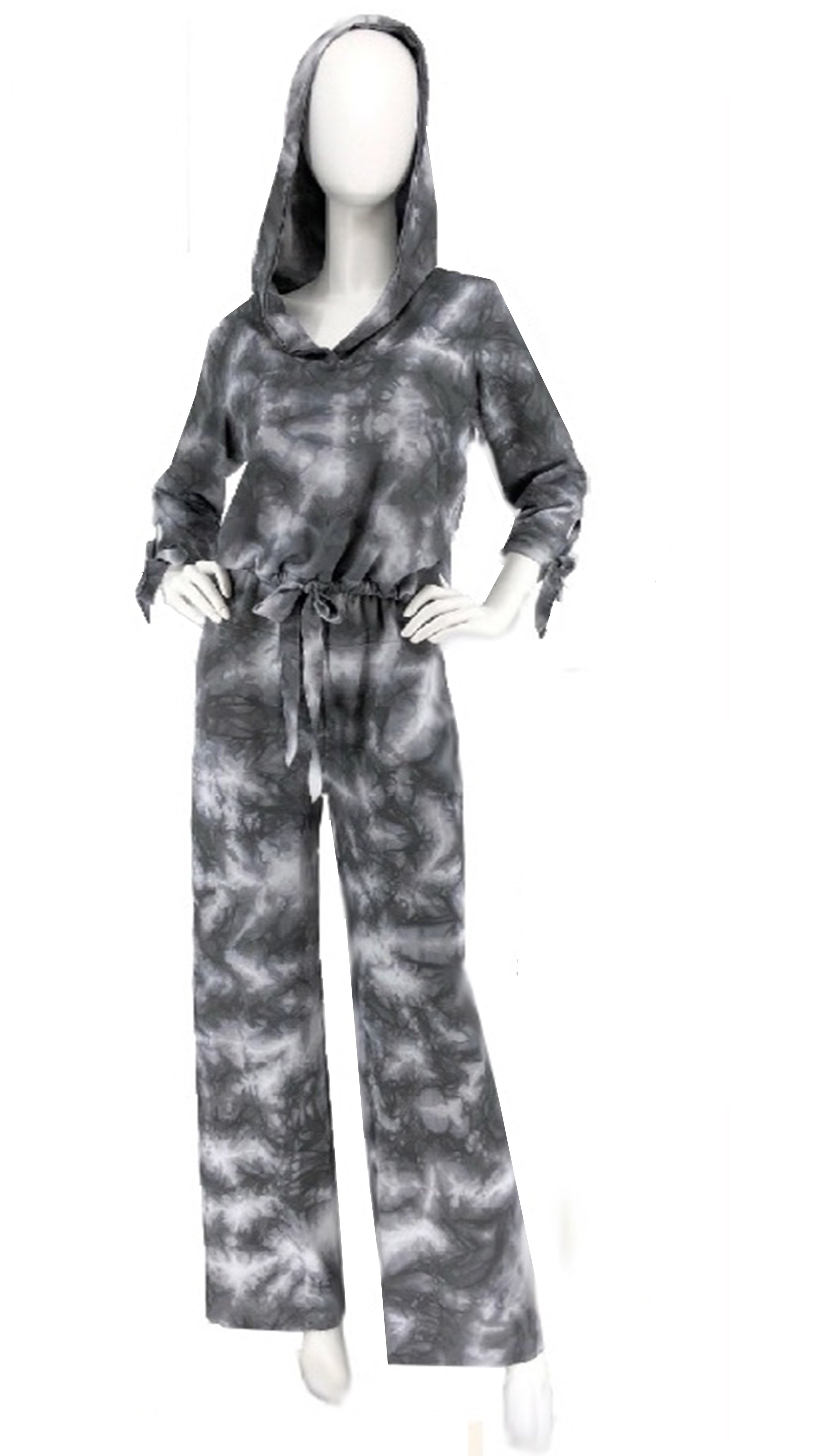 Long Perfect Ponte Pant with Fold Over Yoke, Shown With Cropped Hoodie - Sara Mique Evening Wear