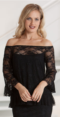 Off/On Shoulder Stretch Lace Top with Ruffle Sleeve - BSL14 / Skirt SSL4 sold separetely