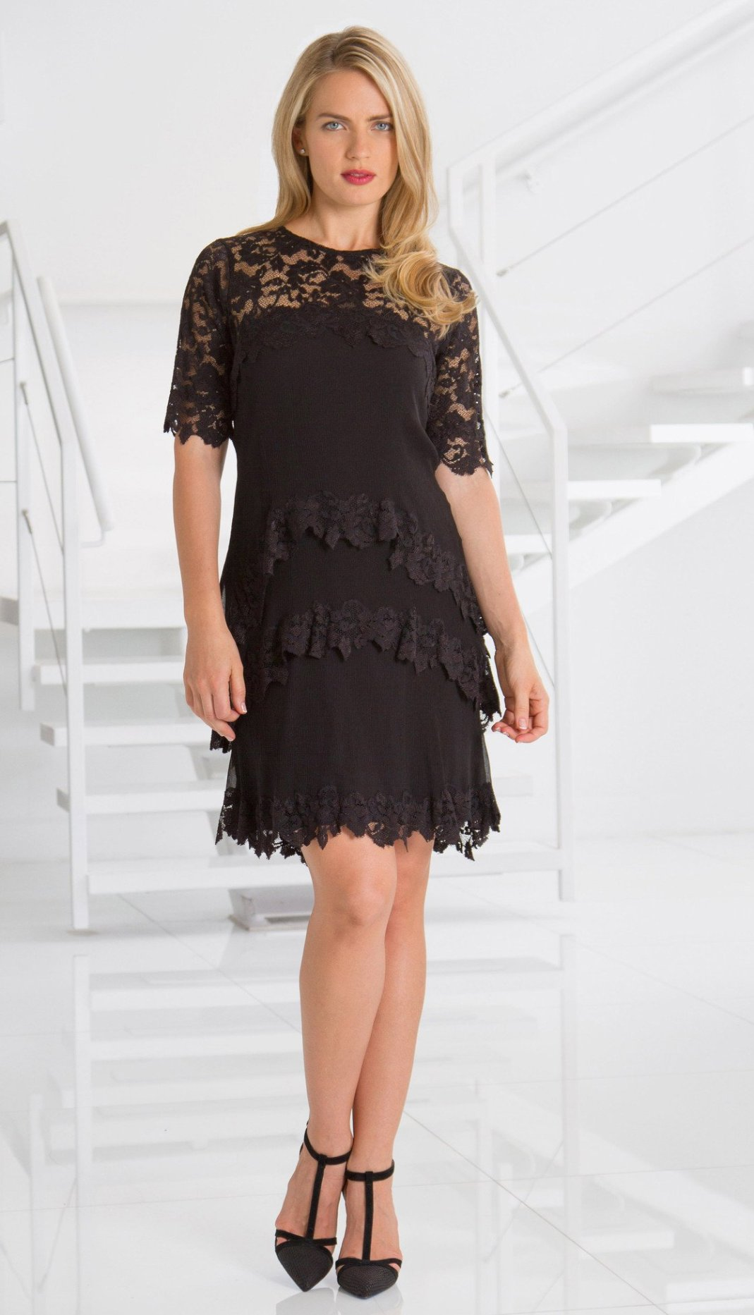 French Lace Dress - Sara Mique Evening Wear