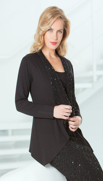Ponte Jacket with Sequin Lapel - J800