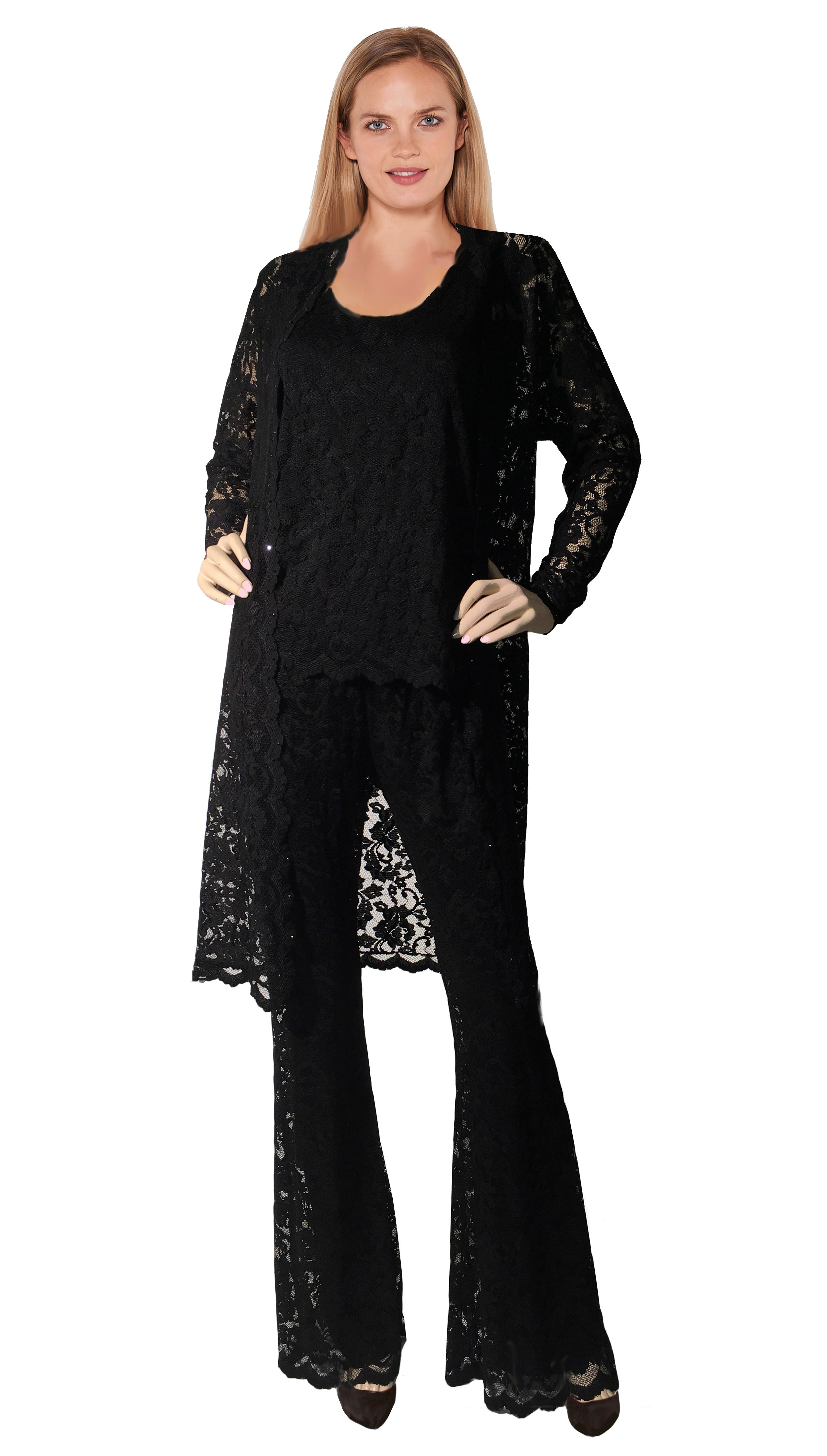 French Rose Lace Duster Jacket with Scoop Neck Cami & Bell Pant - Sara Mique Evening Wear
