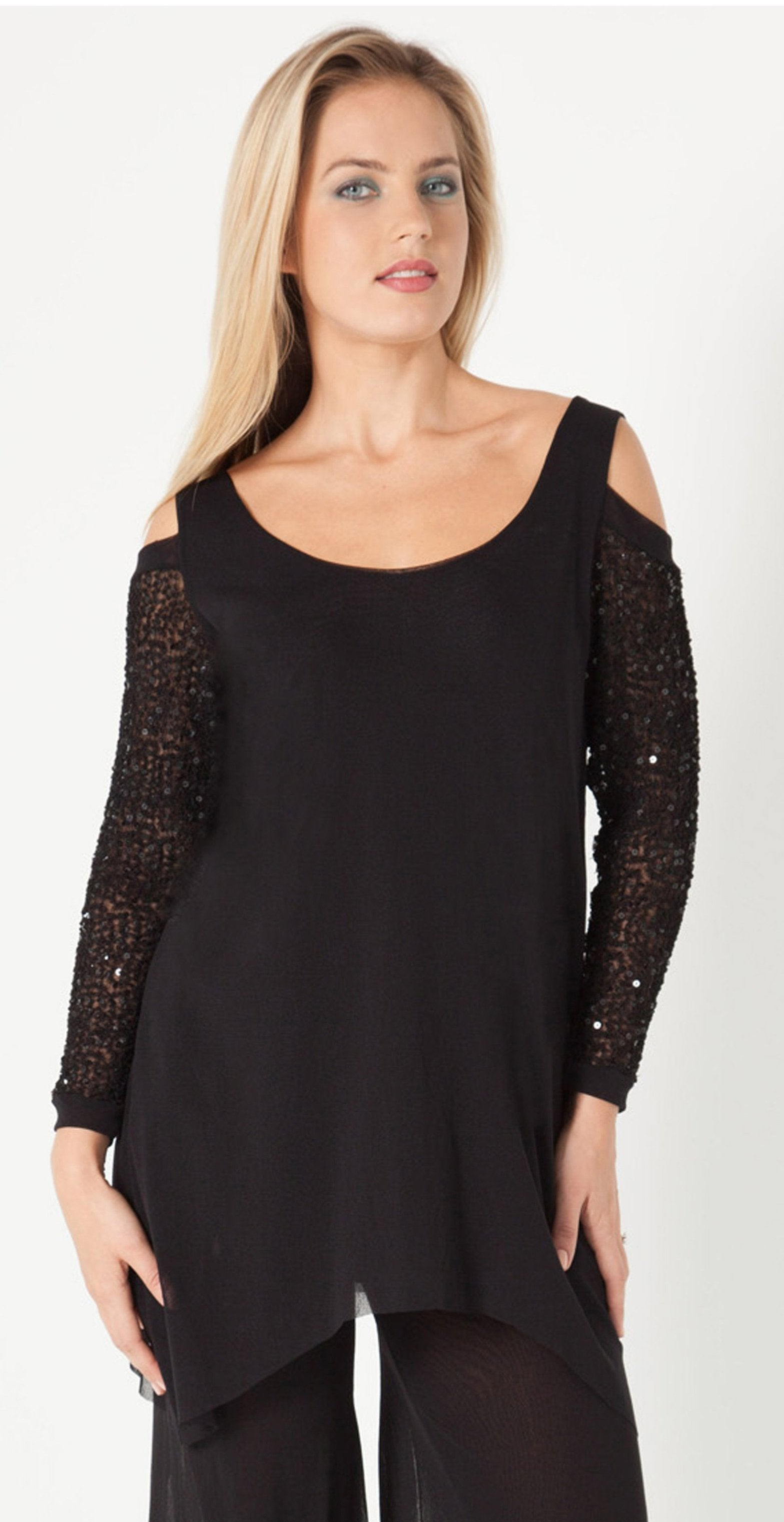 Cold Shoulder Tunic With Sequined Sleeves - MTU32SB - Sara Mique Evening Wear