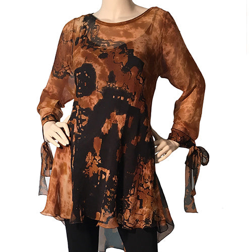 "Bias Silk Plisse"" Tunic With Tie At Sleeve - Use Code Home50Off at Checkout - Sara Mique Evening Wear"