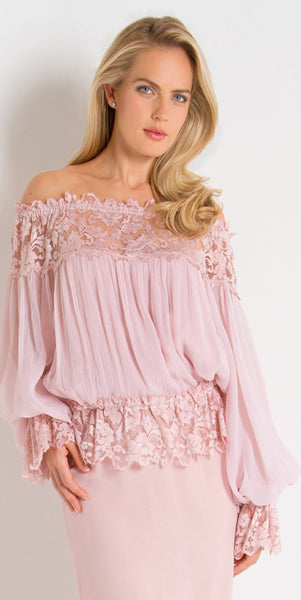 French Lace and Silk Plisse Off Shoulder Top - B616
