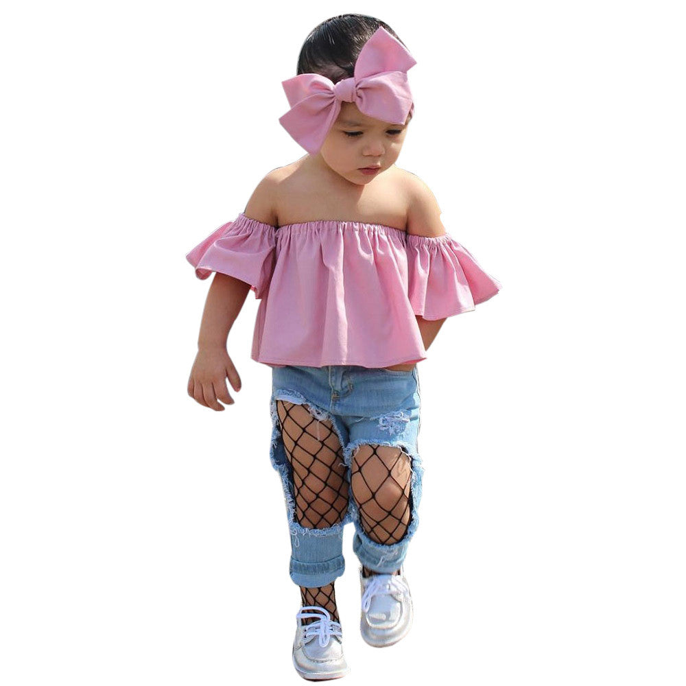 2pcs set Kids girls set Toddler Baby Girl Off Shoulder T-shirt Tops Jeans Pants Clothes Outfits Set kids clothes