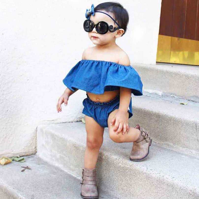 2pc Kid Baby Girls set off shoulder Denim Tops+Shorts Outfit Suit Clothes Sunsuit Set kids girl clothes set summer drop shipping