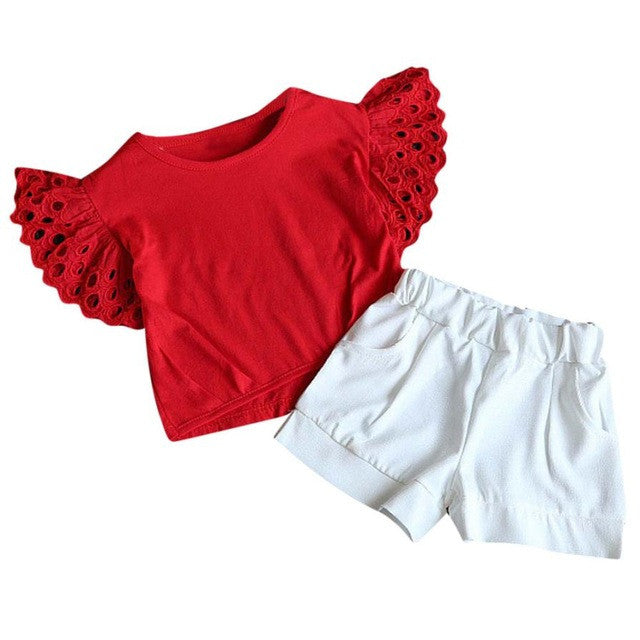 Girls set Hollow Summer kids Children clothing Baby girls T-shirts+ Shorts Kids girl Clothes 2 piece set girls clothes Drop ship