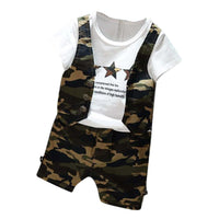 Kids Boys set Camouflage Short Sleeve Tops T-shirt shorts Outfits children Set Clothes summer
