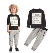 1Set Kids Toddler Boys Handsome Black Blouse + Gray Casual Pants Letter Sports leisure t-shirt + pants kids suits