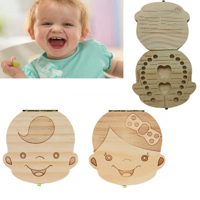 2017 Tooth Box Organizer for Baby Milk Teeth Save Wood Storage Box for Kids IN German