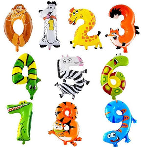 Animal Number Foil Balloons - Kids Party Decoration