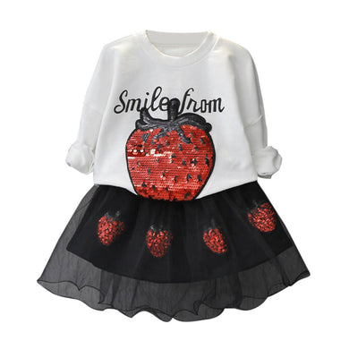 2 pcs set Kids Girls Skirt Set - T-Shirt Sequins Tops+Tulle