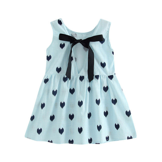 2017 Heart Print Princess Kids Dress Children's Clothing Bowknot Girls Dress One-Piece Sleeveless Backless Colthes For Kids