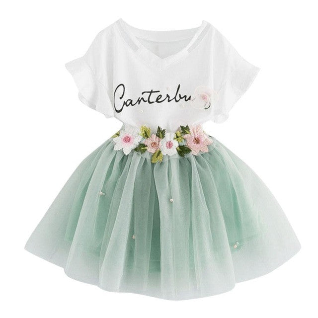 Girls Clothing Sets New Summer lovely letter Printed T-Shirts+Flower embroidery Tutu Skirts 2Pcs Baby Girls Clothes Sets