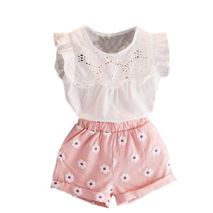 Flowers Lace Princess Shirts Blouse+Short Pants 2pcs