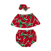 Summer Watermelon Off Shoulder Tops + Shorts Pants +Hairband 3pcs Toddle Kids Outfits Clothes