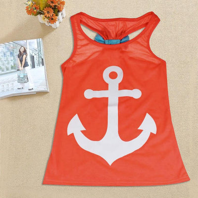 2016 New Summer Children Girls Backless Sleeveless Bowknot Anchor Print T-shirt Tops Cotton T-shirt For 2-11 Years Kids