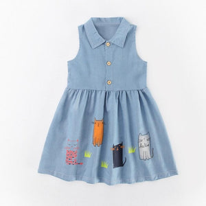 Denim Summer Kids Clothing Girls Dresses with Cat Print Lovely Children Clothing Blue Party Toddler Princess