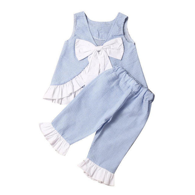ashion Summer 2PCS Lace Kids Baby Girl Cute Bow Vest Tops + Shorts Pants Clothes puff Sleeves Outfits Set Size 1T-7T