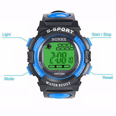 LED Digital Electronic Multifunction Waterproof Child Kids Boy's Girl's Watch Outdoor Multifunctional Student Sports Watches
